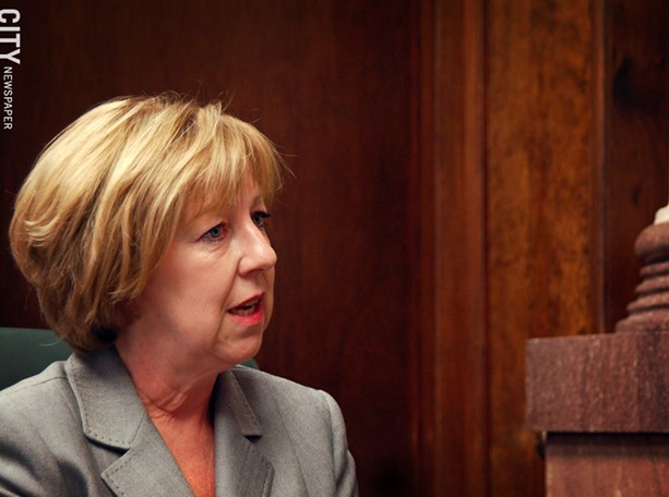 County Executive Maggie Brooks during an interview. - FILE PHOTO