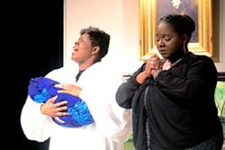 Margaret (Deborah Solomon) comforts Mrs. Jackson (Whitney M. Randall), whose baby is sick. - PHOTO COURTESY ANNETTE DRAGON