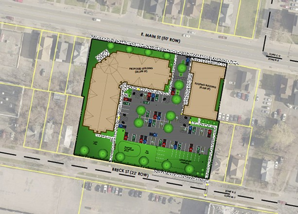 A site rendering of the proposed Community on East Main Street. - PROVIDED BY HOME LEASING