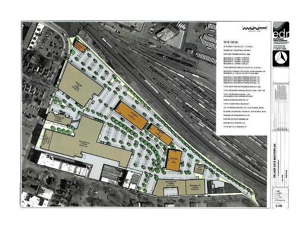 N Goodman Street is on the left in the above design. The three structures colored in brown are the three new buildings planned to open this summer. Building A is already under construction. - PROVIDED IMAGE