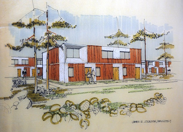 Johnson's architectural rendering of system-cast concrete residences designed for the Baptist Home in Fairport. - PHOTO BY IRA SROLE