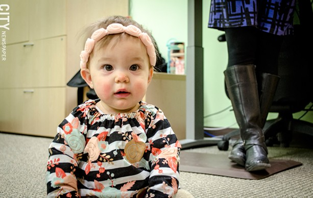 Amelia Smith is participating in research at the UR's Rochester Baby Lab. - PHOTO BY MARK CHAMBERLIN