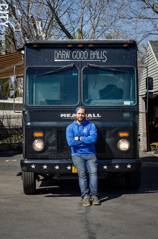 Matt Petrillo of The Meatball Truck Co. For food truck operators, the summer is a lucrative, but demanding season. - PHOTO BY MARK CHAMBERLIN