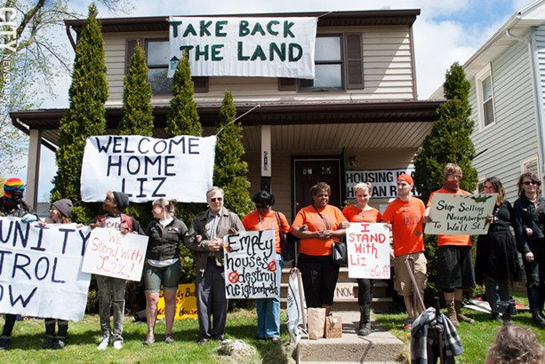 Elizabeth McGriff, with the support of Take Back the Land, has reoccupied her home on Cedarwood Terrace. - PHOTO BY JEREMEY MOULE