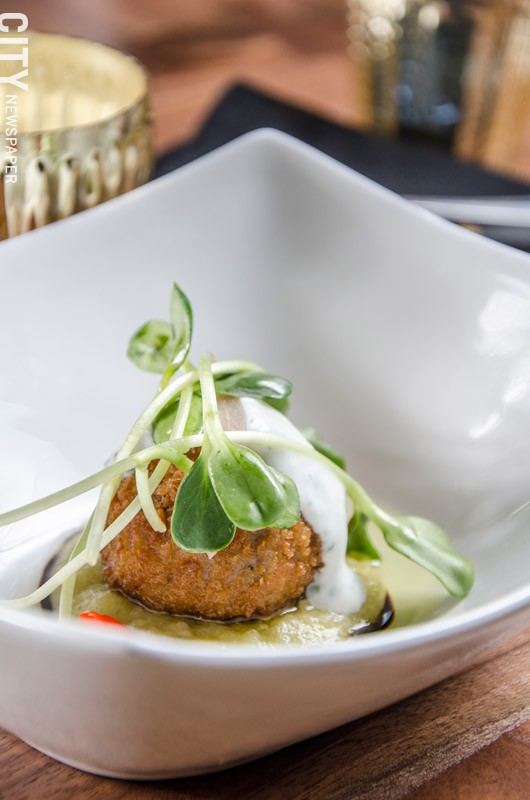 A Chef Cipolla creation for his tasting - menu at The Kitchen in Pittsford. - PHOTO BY MARK CHAMBERLIN