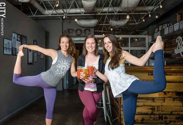 "(From left to right) Stephanie Betzwieser, Carolyn Stiles of Rochester Beer Gals, and Hannah Zimmerman host an occasional ""Ales and Ohms"" class at Roc Brewing, and hope to spread to other breweries this summer. - PHOTO BY MARK CHAMBERLIN"