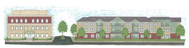 The Community on East Main. The building on the left would have 26 apartments, while the one on the right would have 50. - PROVIDED RENDERING