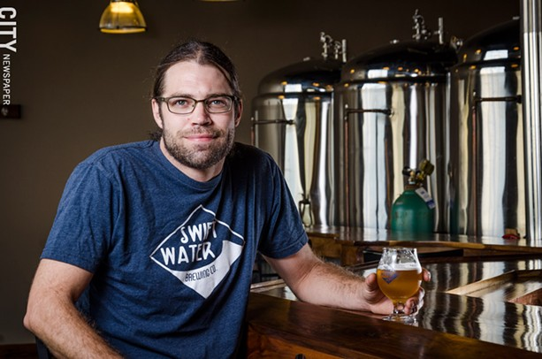 Swiftwater Brewing co-owner Andy Cook says the brewery sells most of its beer through its Mt. Hope Avenue tasting room. - PHOTO BY MARK CHAMBERLIN