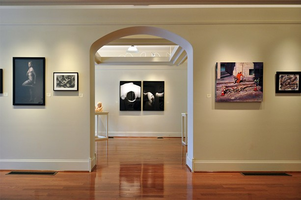 "An installation view of ""The Human Figure"" at Main Street Arts. Left to right: a photo by Steven Romeo, a drawing by Danielle Bersch, two photos by Susan D'Amato, a painting by Robert Samartino, and a mixed-media work by Tina Ybarra. - PHOTO PROVIDED"