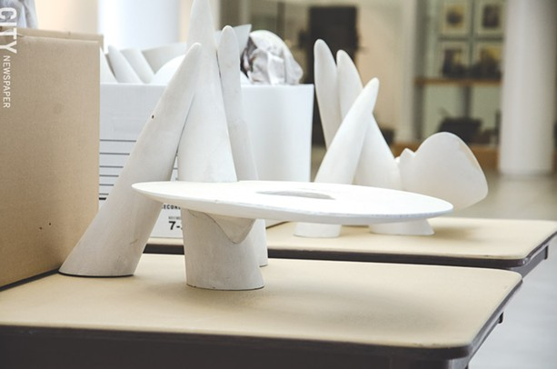 Castle hand-carves models of his furniture designs from urethane, which will be 3D scanned to maintain every detail. - PHOTO BY MARK CHAMBERLIN