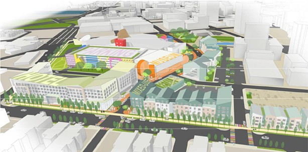 The Strong museum and its partners propose an expansion of the museum, parking for 1,200 cars, a hotel with at least 120 suites, 201 housing units, and a mix of retail. - PROVIDED IMAGE