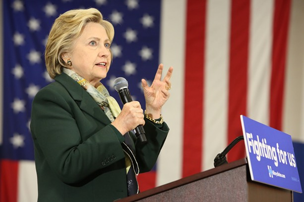 Hillary Clinton during an appearance at Monroe Community College earlier this year. - PHOTO BY JOHN SCHLIA