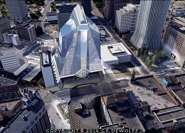 A local partnership proposes a minimum 14-story glass-and-steel structure for Midtown, with condos, restaurant, performing arts center, hotel, and other amenities. - PROVIDED ART