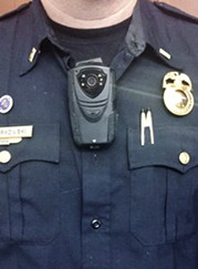 A body camera on a Rochester police officer - PHOTO BY CHRISTINE CARRIE FIEN