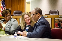 Rochester school board Vice President Cynthia Elliott (far left), Superintendent Barbara Deane-Williams, and school board President Van White - PHOTO BY MARK CHAMBERLIN