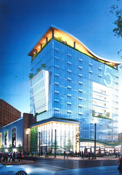LaBella Associates' conceptual drawing for the 150-unit apartment tower on the rear of the Parcel 5 site. - PHOTO PROVIDED