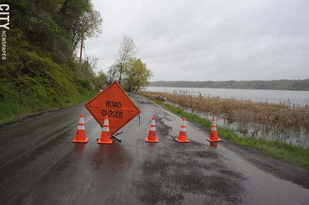 South Bay Front Lane was closed because of flooding from Irondequoit Bay. - PHOTO BY JEREMY MOULE