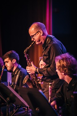 Charles Pillow led his Large Ensemble at Xerox Auditorium Wednesday night. - PHOTO BY JOSH SAUNDERS