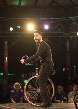 "Derek Manson as Steve in ""The Bicycle Men"" - PHOTO BY ASHLEIGH DESKINS"