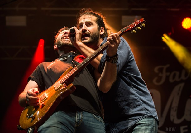 Adam Ezra and Mike Gladstone at the Fairport Music Festival. - PHOTO BY AARON WINTERS