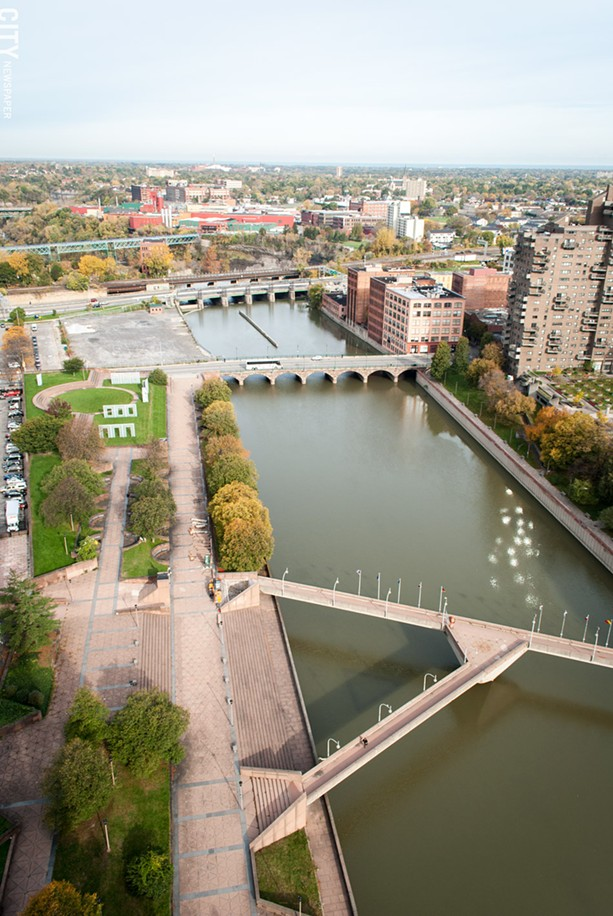 The view of the Genesee River downtown, from the top of the First Federal Building. - PHOTO BY RYAN WILLIAMSON