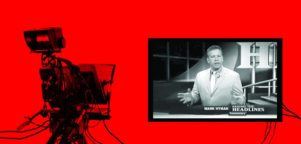 """Sinclair requires local stations to air Mark Hyman'  """"Behind the Headlines"""" – a conservative commentary on national topics – on local newscasts. - ILLUSTRATION BY RYAN WILLIAMSON"""