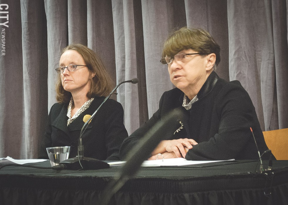 Attorney Mary Jo White (right), who led the investigation into sexual misconduct charges at the University of Rochester, at last week's press conference on the investigation's findings. - PHOTO BY RYAN WILLIAMSON