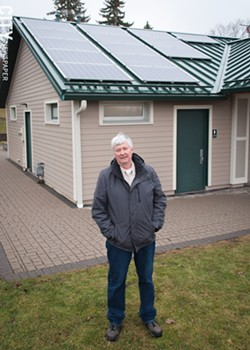 Bob Kanauer of LTHS Solar in Penfield says a new solar cell tariff will hit large solar energy projects harder than small ones. - PHOTO BY RYAN WILLIAMSON