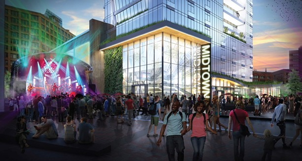 An architect's rendering of the south side of the arts and entertainment complex on Parcel 5. - IMAGE COURTESY LABELLA ASSOCIATES