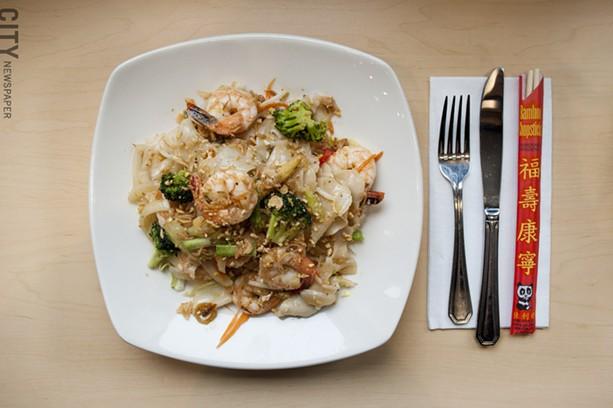 Khong House Noodle with shrimp - PHOTO BY RENÉE HEININGER