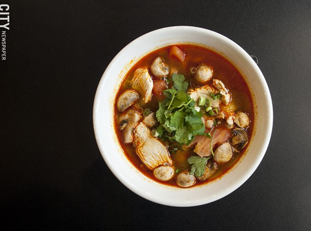 Tom Yum soup with chicken - PHOTO BY RENÉE HEININGER
