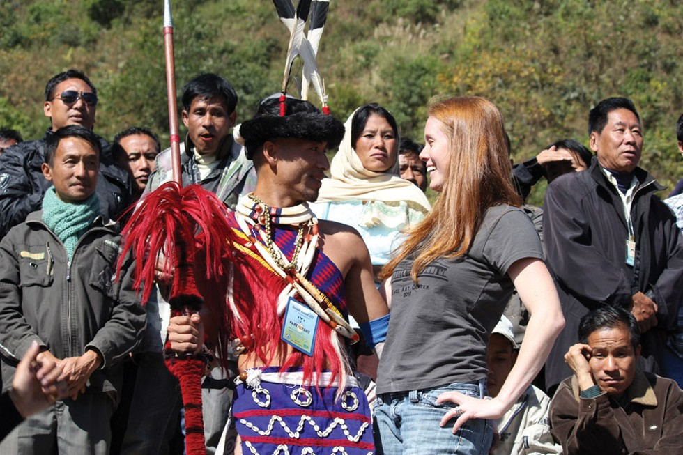 Heather Layton with Hornbill Festival performer in Nagaland. - PROVIDED PHOTO