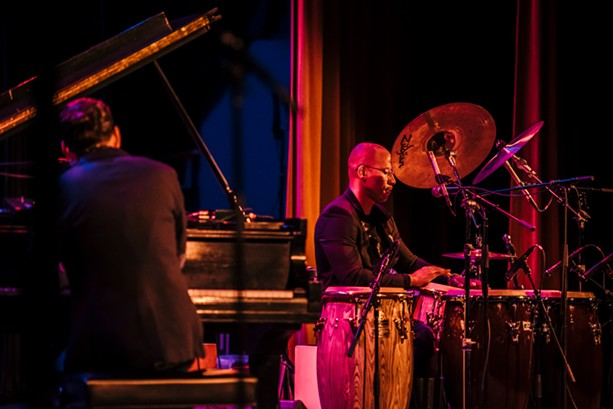 Alfredo Rodriguez and Pedrito Martinez at Xerox Auditorium during the first night of the 2018 Xerox Rochester International Jazz Festival. - PHOTO BY JOSH SAUNDERS