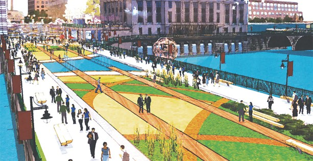 The city plans to convert the Broad Street bridge from a vehicular bridge to a pedestrian walkway. - RENDERING PROVIDED BY CITY OF ROCHESTER