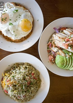 Quinoa bowls at Blades. Top: the Purgatory Quinoa with egg; right: the Saha Quinoa with chicken; and bottom left: the Pomodoro Quinoa. - PHOTO BY RENÉE HEININGER
