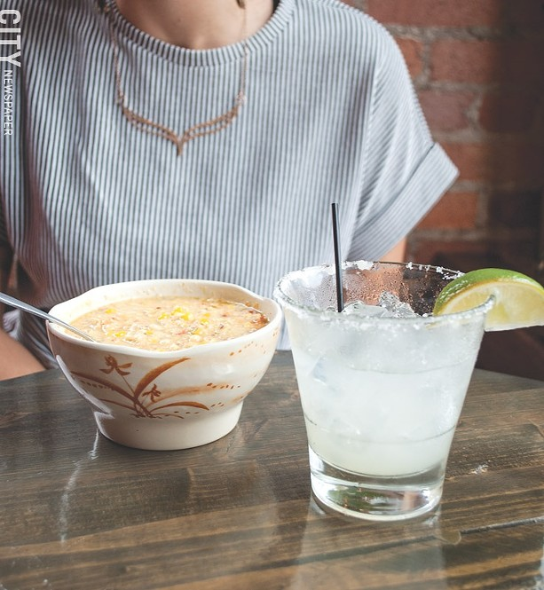 A warming roasted corn soup special and margarita. - PHOTO BY REBECCA RAFFERTY