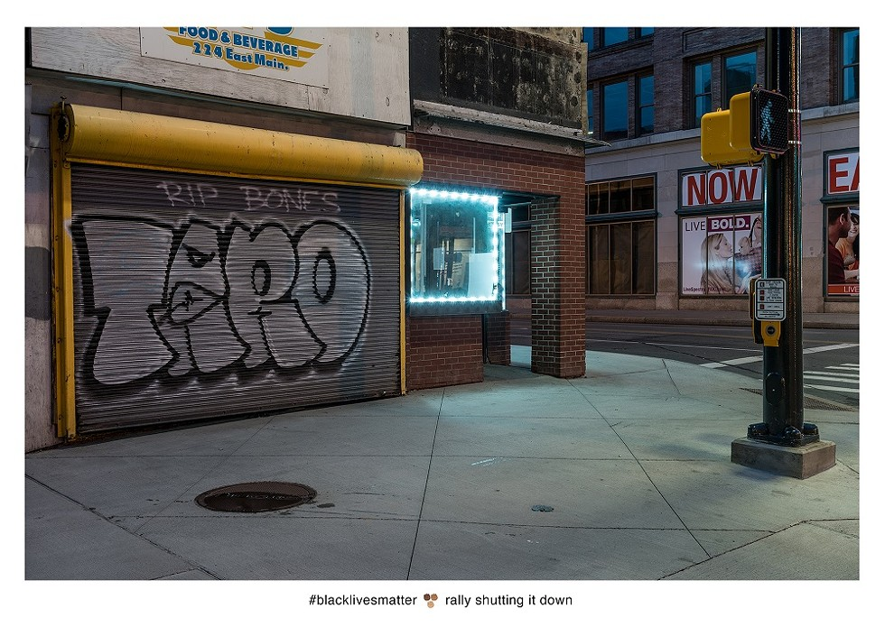 Two years after this tweet was posted, Larson Shindelman photographed the location where the Twitter user stood — the eerily clear streetscape a far cry from the activity of the rally. - PHOTO COURTESY LARSON SHINDELMAN