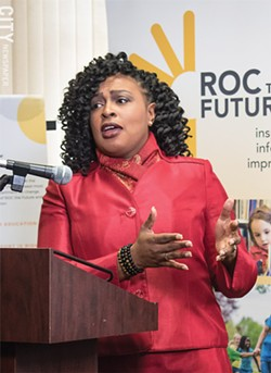 Rochester Mayor Lovely Warren: In an emotional statement, she joined Roc the Future members pushing for improvement in the school district. - PHOTO BY JACOB WALSH