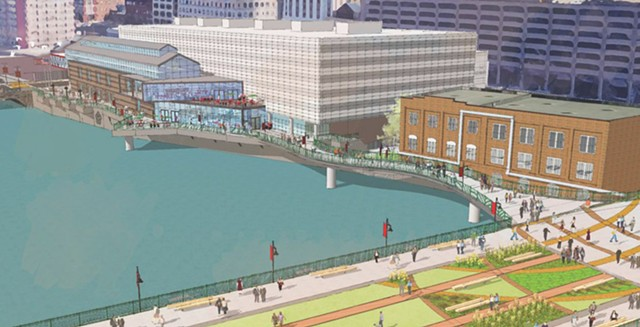 A city rendering of the proposed south terrace at the Joseph A. Floreano Rochester Riverside Convention Center.