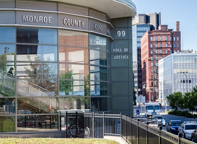 The Monroe County Hall of Justice in downtown Rochester.