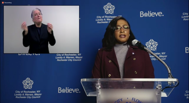 A screenshot of Mayor Lovely Warren's news conference held via Zoom on Wednesday, April 8.