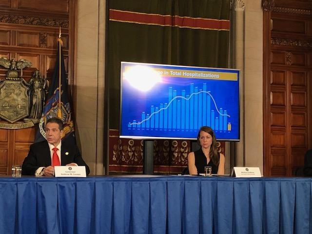 New York Governor Andrew Cuomo at his daily briefing on Thursday, April 9, 2020.