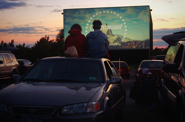 "Leah Provenzano and Jon Eckler prepare to watch a screening of ""Indiana Jones and the Kingdom of the Crystal Skull"" at the Vintage Drive-In in Avon, NY."