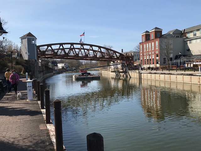 The Erie Canal in Fairport in April 2020. The state is delaying the May 15 opening of the canal to recreational users because the coronavirus pandemic halted necessary work on eight locks along the waterway.