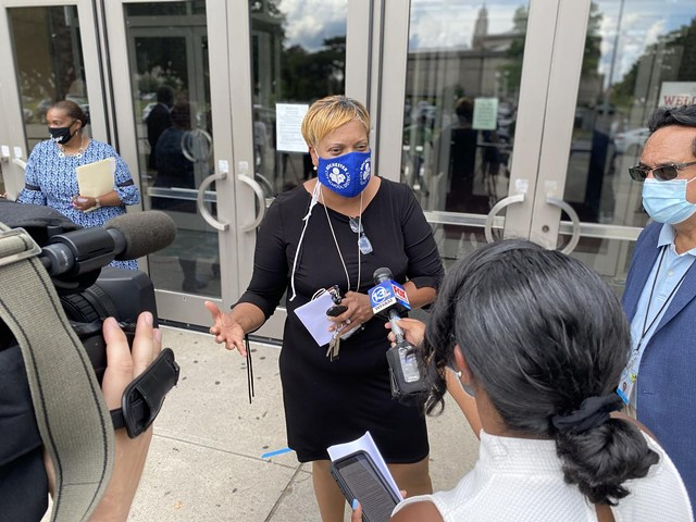 Rochester Superintendent Lesli Myers-Small speaks to reporters outside the School of the Arts on Thursday, July 30, 2020.