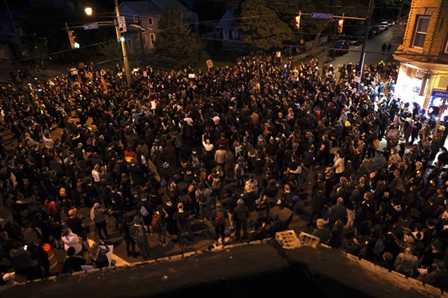 Hundreds of demonstrators gathered Sunday night at the Jefferson Avenue intersection where Daniel Prude was arrested and suffocated. They marched to Rochester Police Department headquarters. Sept. 6, 2020.