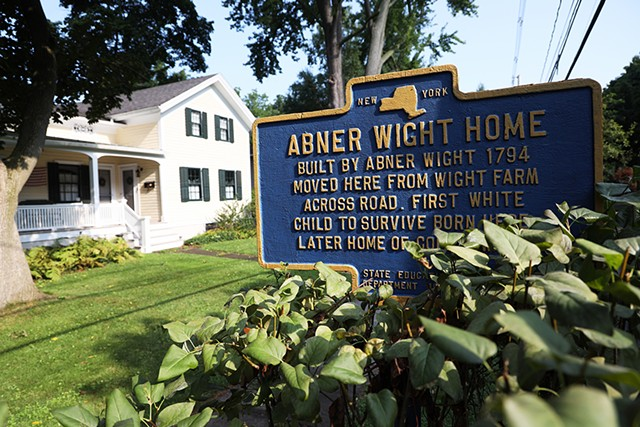 """A New York historical marker denoting the Abner Wight Home celebrated the """"first white child"""" of Perinton. The sign was erected in 1949 and taken down in September 2020."""
