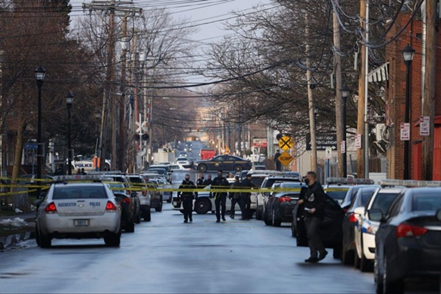 The scene on Hague Street on the morning of Dec. 22, 2020, after a Rochester police officer was shot and injured.
