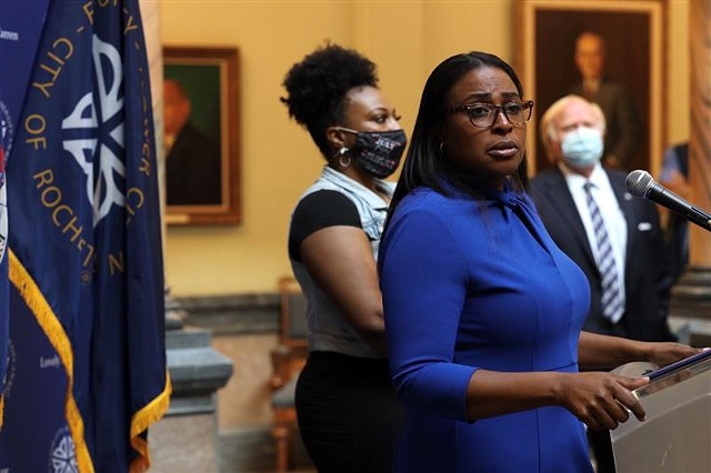 Mayor Lovely Warren addresses reporters during a City Hall news conference on Sept. 3, 2020.