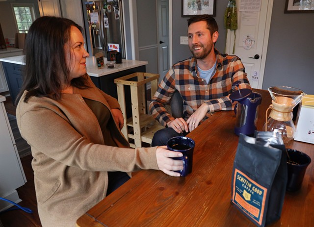 Kate and Kyle Korman at their home in Victor, where they brewed up the idea for Schittin Good Coffee while quarantining during the pandemic.